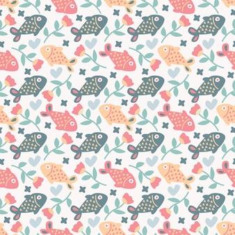 カラフルな花とのシームレスなパターンかわいい落書き魚