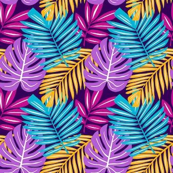 Бесшовный узор из тропических растений листья пальмы монстера