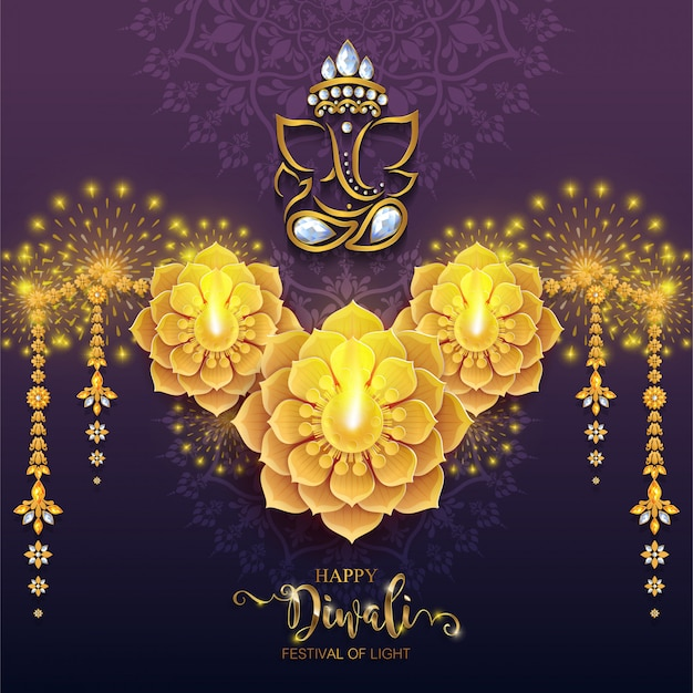 ディワリ、ディーパバリ、またはディパヴァリインドのライトの祭典
