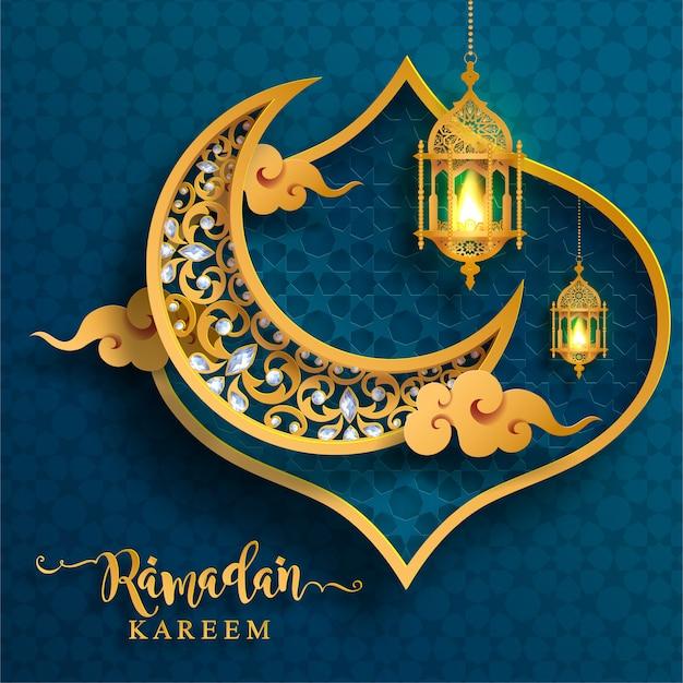 ラマダンカリームまたはイードムバラク背景挨拶イスラム模様のゴールドと紙の色の背景に結晶。
