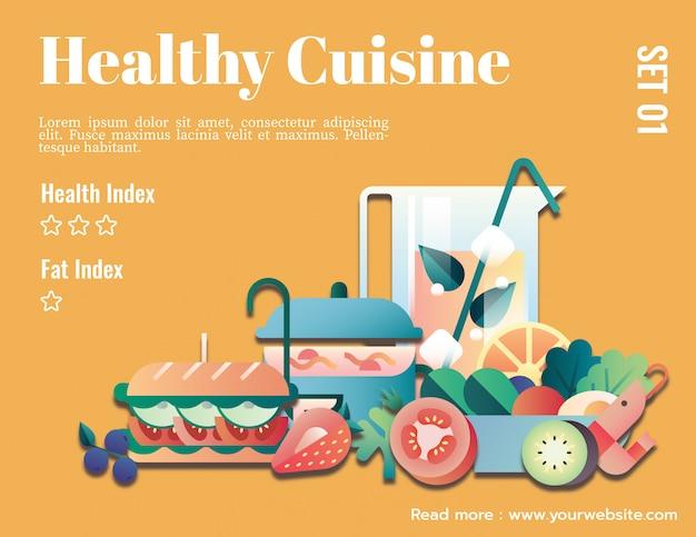 健康的な料理のグラフィックテンプレートのモックアップ