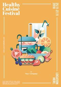 健康的な料理のポスターのテンプレートモックアップ