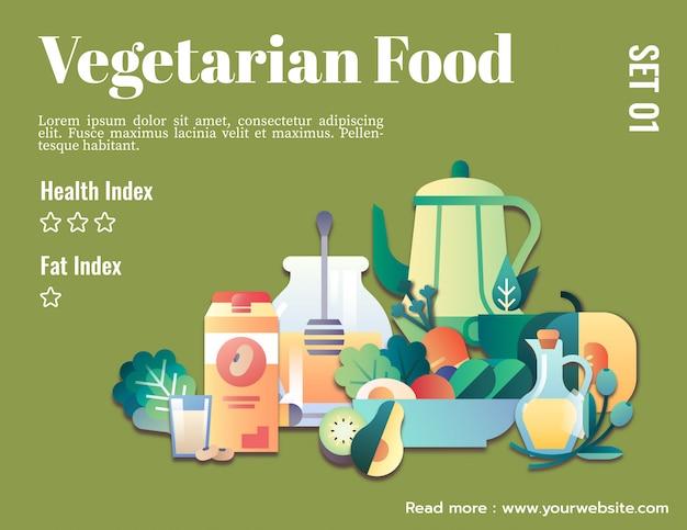 ベジタリアン料理のグラフィックテンプレートモックアップ