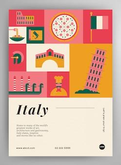 Макет плаката путешествия италии