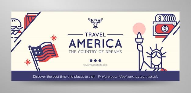 Туристический баннер соединенных штатов америки