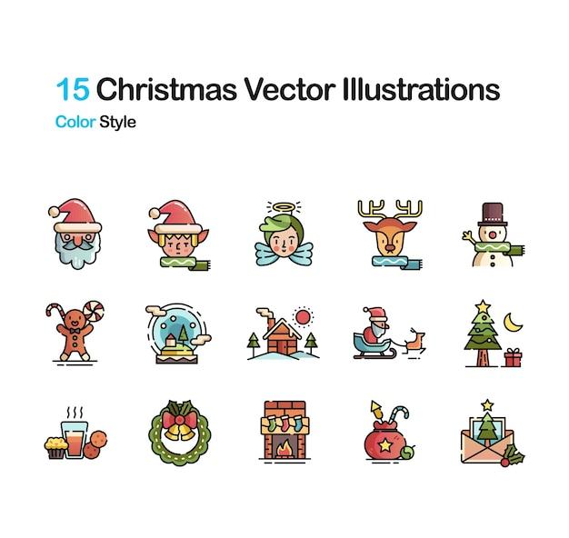 Рождественская цветовая иллюстрация