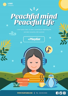 Шаблон макета плаката мирной жизни