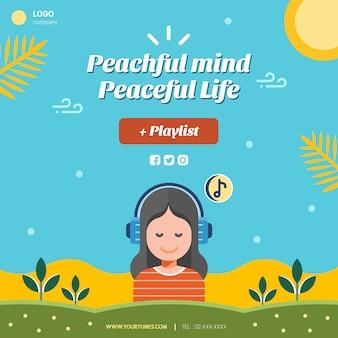 Мирная жизнь макет поста в социальных сетях