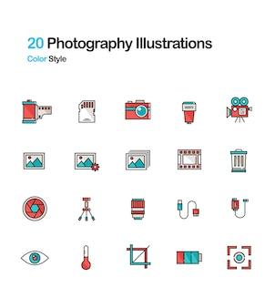 写真線形カラーイラストレーション