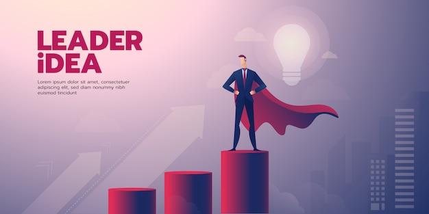 テキストと実業家リーダーシップバナー