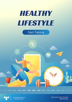 Плакат иллюстрации здорового образа жизни