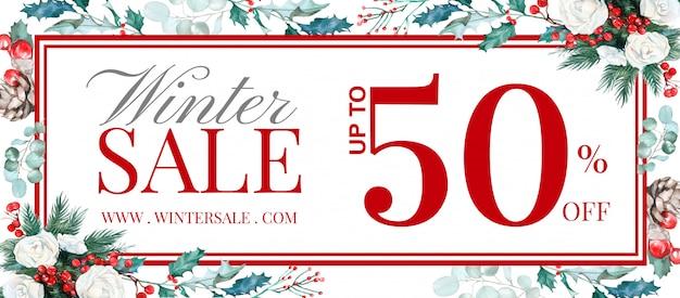Зимняя распродажа баннер с рисованной цветочным декором