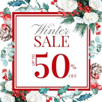 Зимняя распродажа пост с рисованной цветочным декором