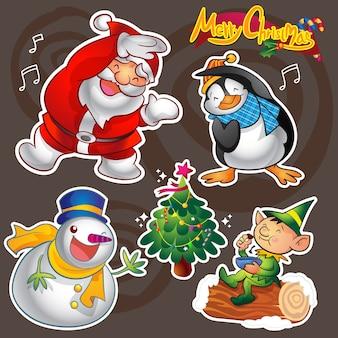 カラフルなかわいいクリスマスの文字と装飾のベクトルセット