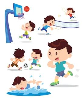 少年はスポーツの多くのアクションをプレイ