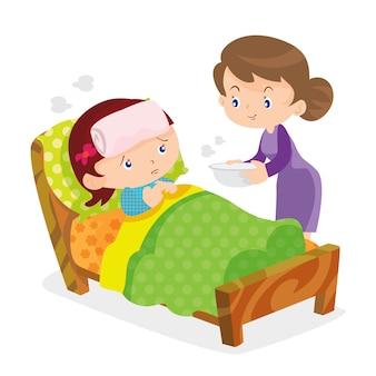 かわいい女の子が病気の母親の世話をする