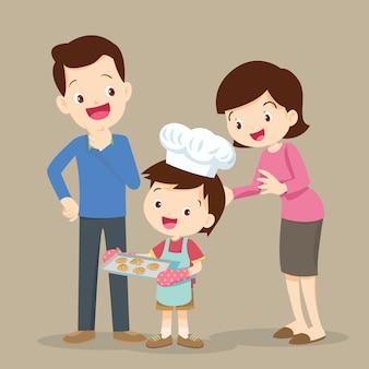 クッキーを調理する子供たち