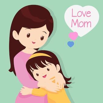 息子が母親を抱いて