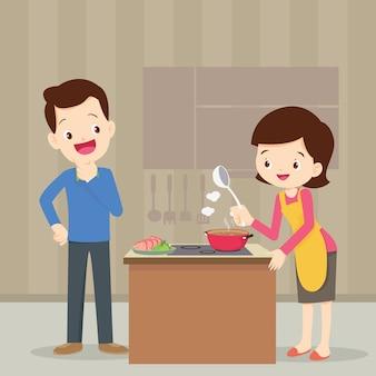 台所の男女