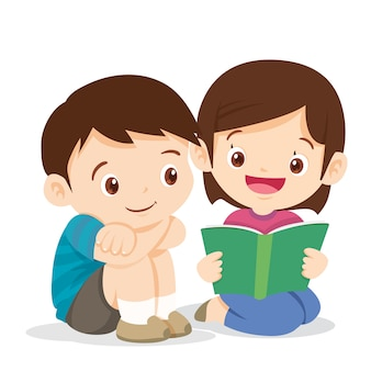 Милая девушка читает книгу с мальчиком
