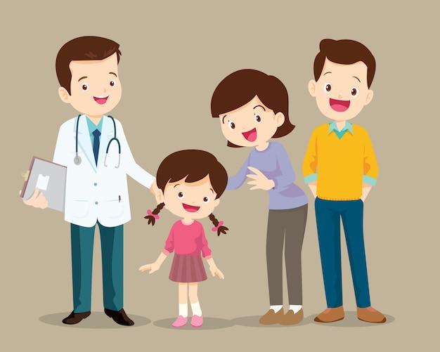 医者を訪れるかわいい家族