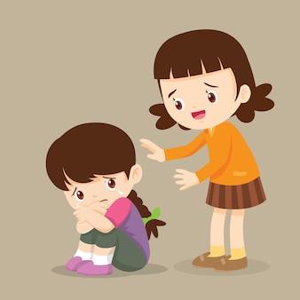 彼女の泣いている友人を慰める女の子はとても悲しい