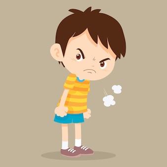 怒っている少年の顔に不機嫌そうな表情