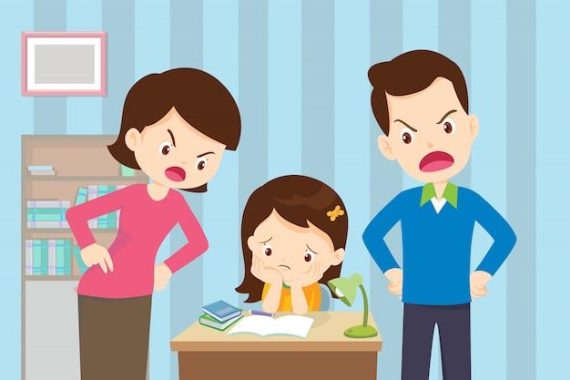 怒った母親と父親が娘にとても悪い教育