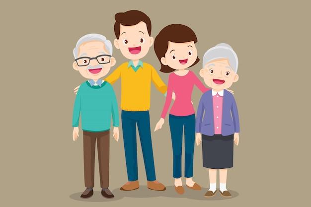 Симпатичная семья отец мать бабушка