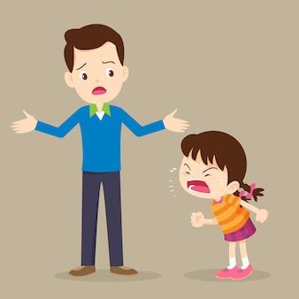 大暴れの少女と彼女のお父さん