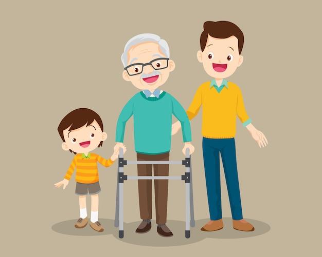 Внук и папа помогают дедушке гулять