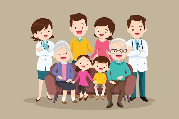 ソファーに座っている医者と幸せな大家族