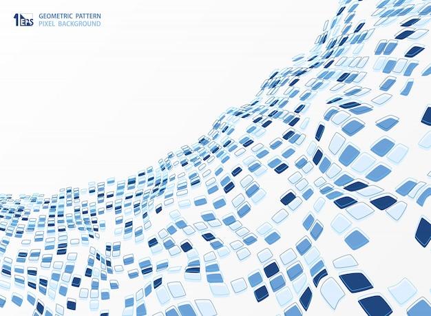 抽象的なブルーのトーンカラーの幾何学的な背景デザインの正方形の背景