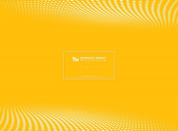 モダンな黄色のハイテクサークルドット柄ハーフトーンの背景
