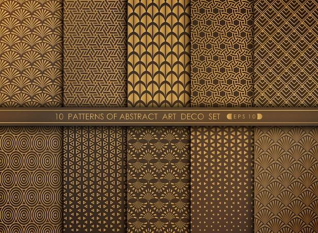抽象的な古いモダンなスタイルのアンティークアールデコパターンセット。