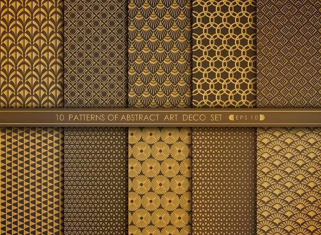 ゴールドアールデコパターンセットの抽象的な花スタイルアンティーク。