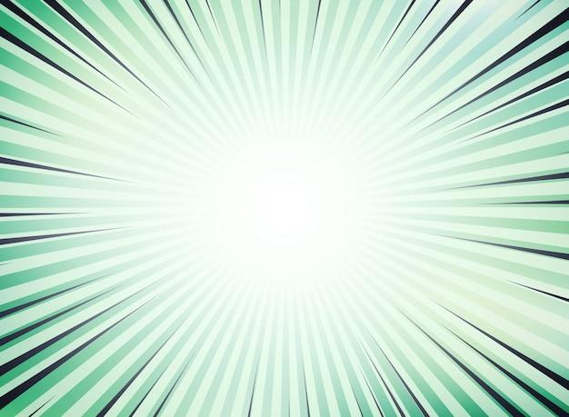 抽象的な緑の太陽は、テキストのスペースのための漫画の背景をバーストしました。