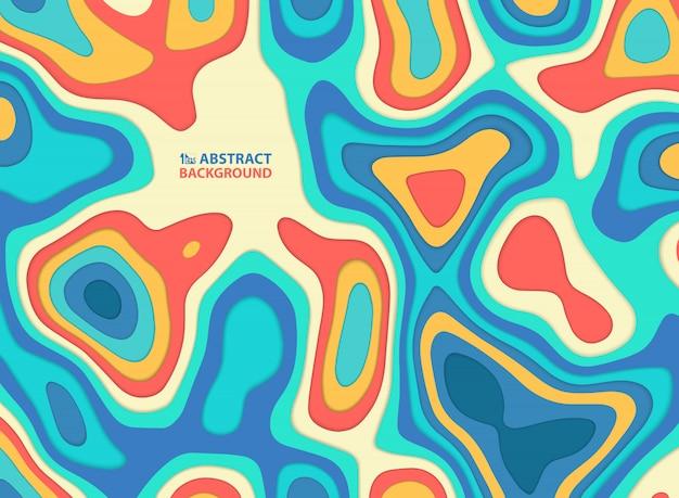 抽象的な紙は、カラフルなストライプライン波状パターン背景をカットしました。