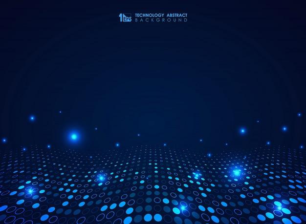 未来的なブルーテクノロジーサークルドットパターン波状デザインの背景