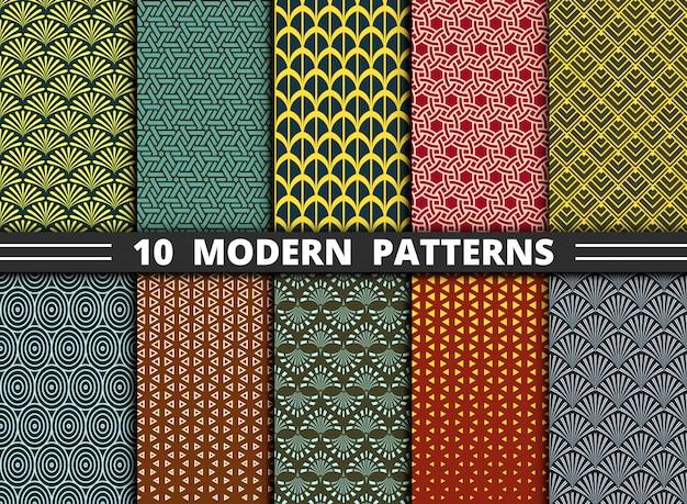 カラフルなセットの抽象的なモダンな幾何学模様のスタイル。
