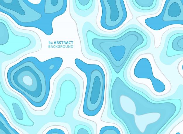 抽象的な青い水スタイル紙は、カラフルなストライプライン波状の背景をカットしました。