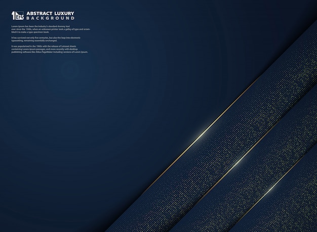 金色の輝きの装飾背景を持つ豪華なグラデーションブルーのモダンな抽象画。
