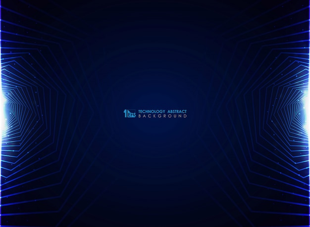Современный синий футуристический фона дизайна пентагона.