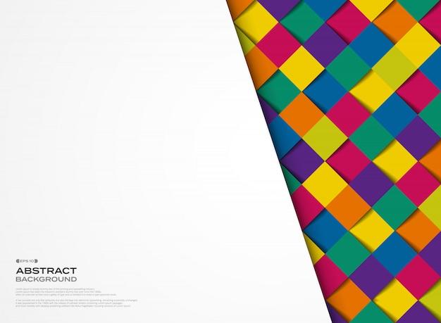 抽象的なカラフルな正方形の幾何学模様のデザインカバーの背景。