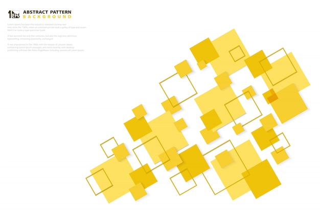 抽象的な最小限の黄色い色の正方形技術紙カットパターンデザインの背景。