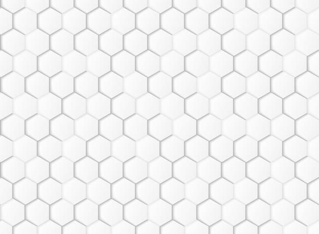 抽象的なグラデーションの白とグレーの六角形の幾何学的な紙は背景をカットしました。