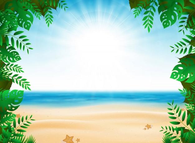日当たりの良いビーチの背景に自然装飾が施された抽象的な夏休み。