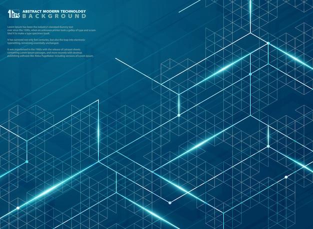 青い構造線エネルギーパターンの現代的な未来的な。