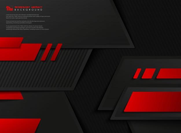 抽象的なベクトルテクノロジーグラデーション赤黒幾何学的テンプレート。