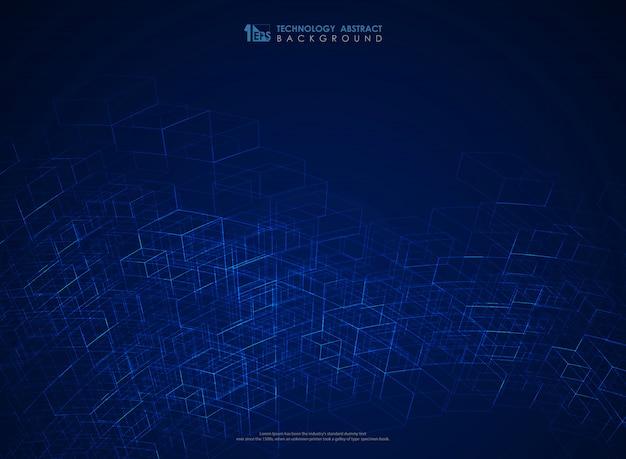 抽象的なブルーの幾何学的なライン構造メッシュの未来的な背景